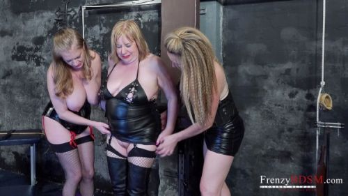 Trisha, Lily, Victoria - Two Dominas Lily and Trisha play with the slave Victoria (2019/SD)